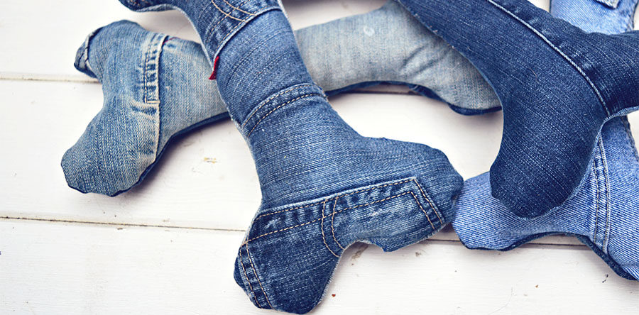 Upcycled denim jeans dog toys