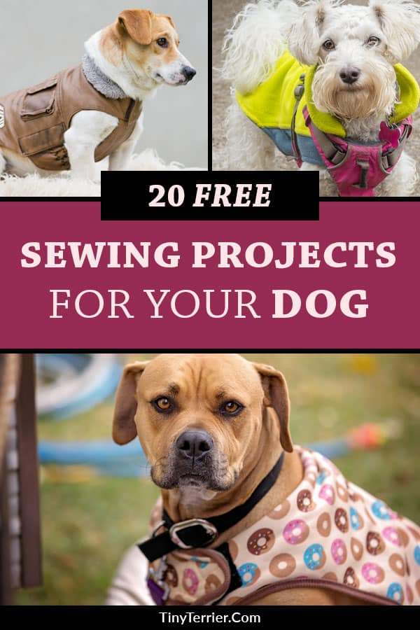 20 Free Sewing Projects for Dog Owners. Learn how to sew dog collars, leashes, bandanas, dog toys, dog beds and more. Dog coat sewing patterns free printables. Enjoy these free printable sewing patterns for dog clothes. Get your free dog coat patterns PDF files and downloads. #sewing #dogs #freepatterns #dogcoat