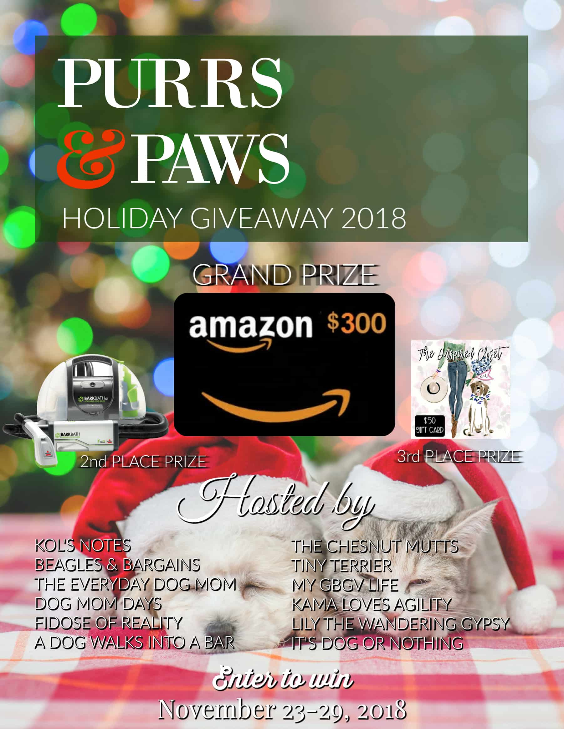 Win $500 in Prizes with the Purrs & Paws Holiday Giveaway!