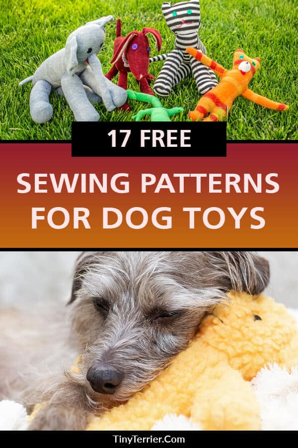 17 FREE dog toy sewing patterns that your pooch will LOVE! Show your dog how much you love them by sewing them their very own handmade dog toy. Choose from this ultimate collection of top dog toy sewing templates. #sewing #sewingpatterns #dogtoys #doglove #dogcrafts