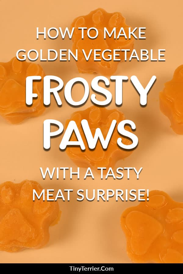 Get your dog to fall in love with vegetables! Here's a quick and easy dog treat recipe that's packed full of tasty veggie goodness - plus a yummy chicken middle for that extra bit of decadence! Click to find out how to make golden vegetable frosty paws with a tasty meat surprise! #dogtreat #frostypaws #frozendogtreat #goldenvegetables