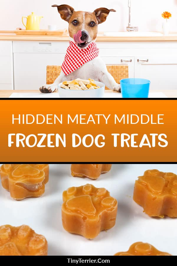 Make these  hidden meaty middle frozen dog treats for the ultimate summer dog treat! Combine sweet potato, carrot and chicken into a fun dog shaped ice cube tray to make these healthy dog treats. #frostypaws #dogtreat #summer