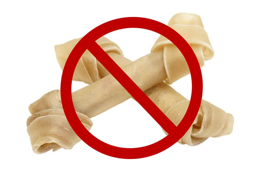 Rawhide can be dangerous for puppies