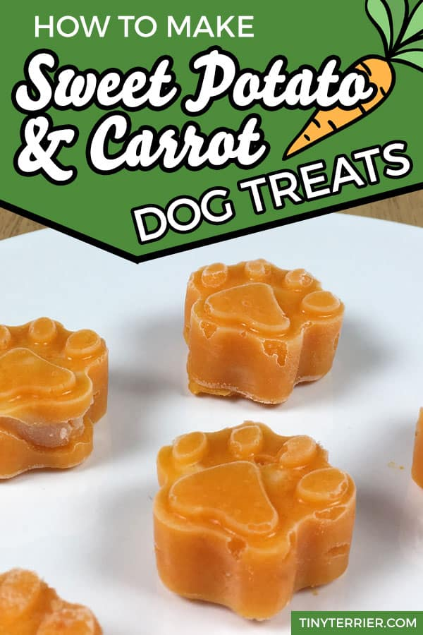 Sweet potato & carrot dog treats with a hidden chicken surprise in the middle. Whip up a batch of vegetable frozen dog treats in minutes to help keep your dog cool this summer. Healthy vegetable dog treats. #frostypaws #dogtreats #sweetpotato